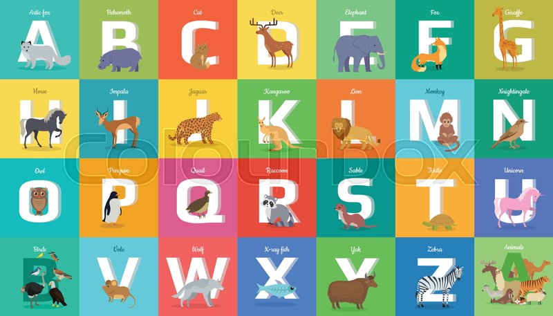 animals alphabet. letter from a to z. various animals stands or