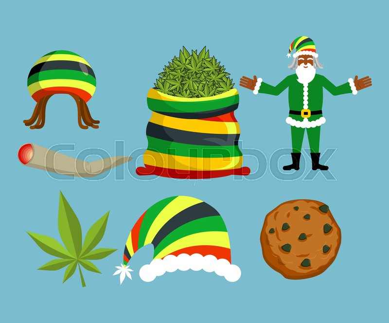 sack hemp bag of marijuana pile of green cannabis large joint or spliff smoking dope cheerful grandfather and rastafarian hat christmas in jamaica