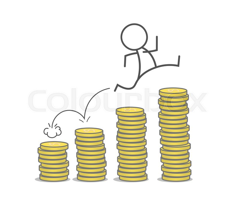 Stock image of 'Man jumps over coins stacks.'