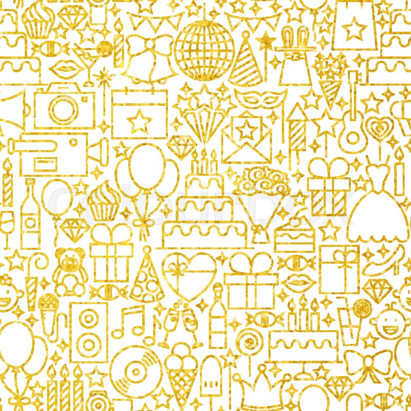 line gold white party tile pattern vector seamless background in
