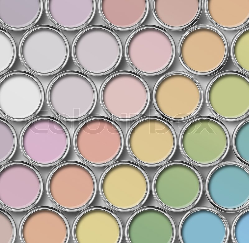 Stock Image Of U0027Light Shade Color Paint Tin Cans Palette, Cans Opened Top  View Amazing Ideas