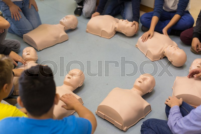 First aid cardiopulmonary resuscitation course in primary school. Kids practicing on resuscitation dolls, stock photo