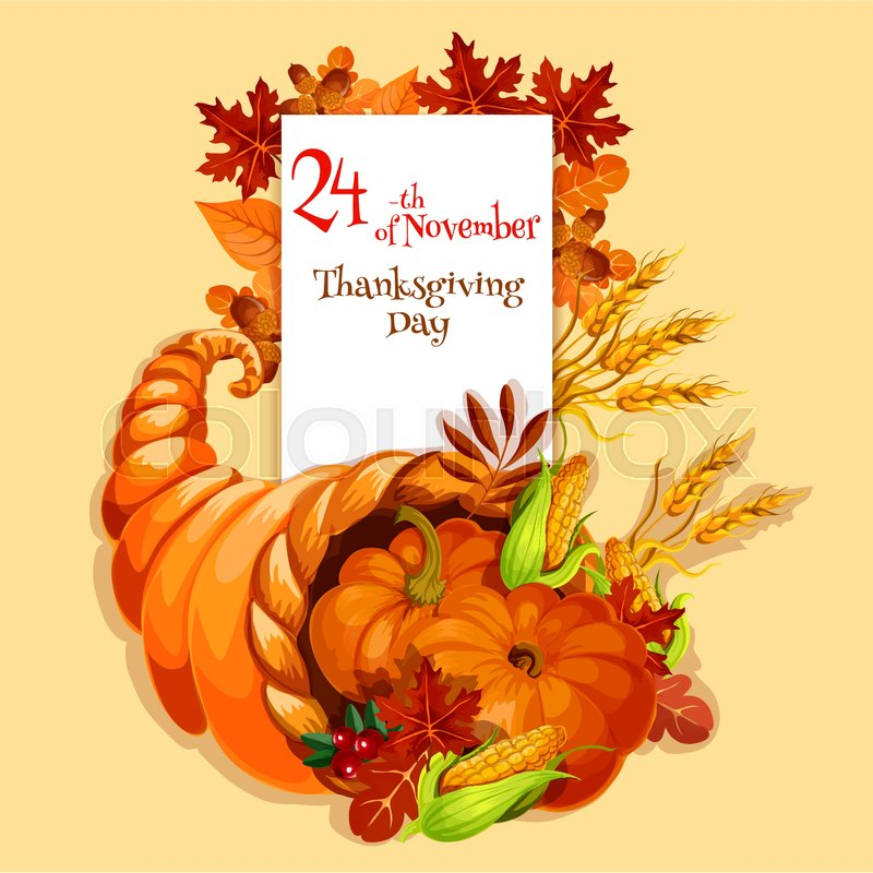 Thanksgiving greeting card cornucopia harvest emblem vector stock vector of thanksgiving greeting card cornucopia harvest emblem vector element of plenty m4hsunfo