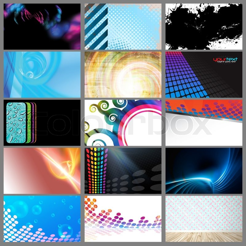 Assortment of 15 horizontal modern business card templates that are ...