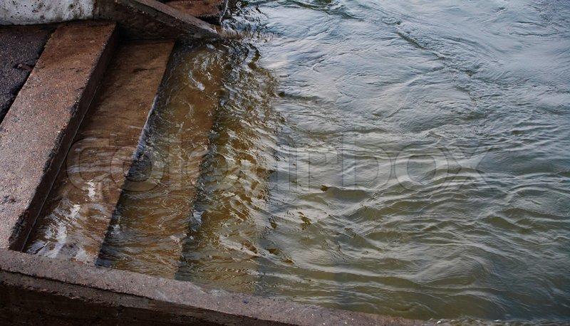 Flood Stairs In Water Stock Photo Colourbox