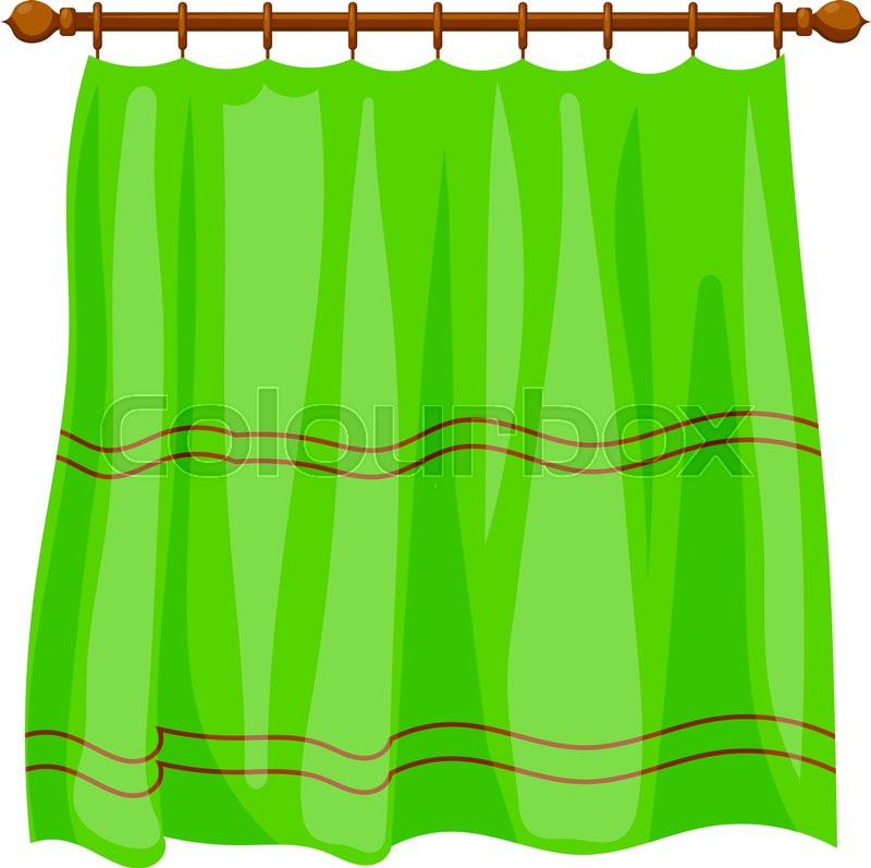 Vector Illustration Of Abstract Cartoon Green Curtains On
