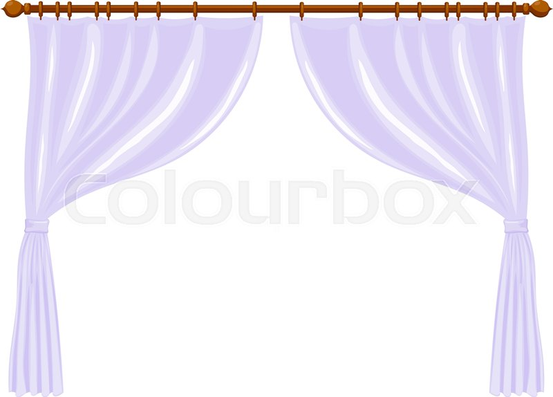 Stock Vector Of Illustration Abstract Cartoon Light Purple Curtains On The Ledge