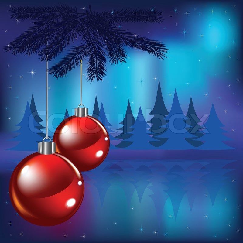 Christmas Red Balls And Stars On Blue Background