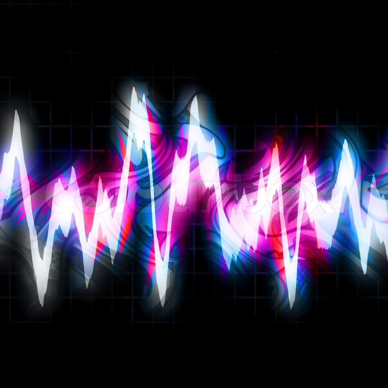 Abstract neon graphic equalizer bouncing and glowing ...
