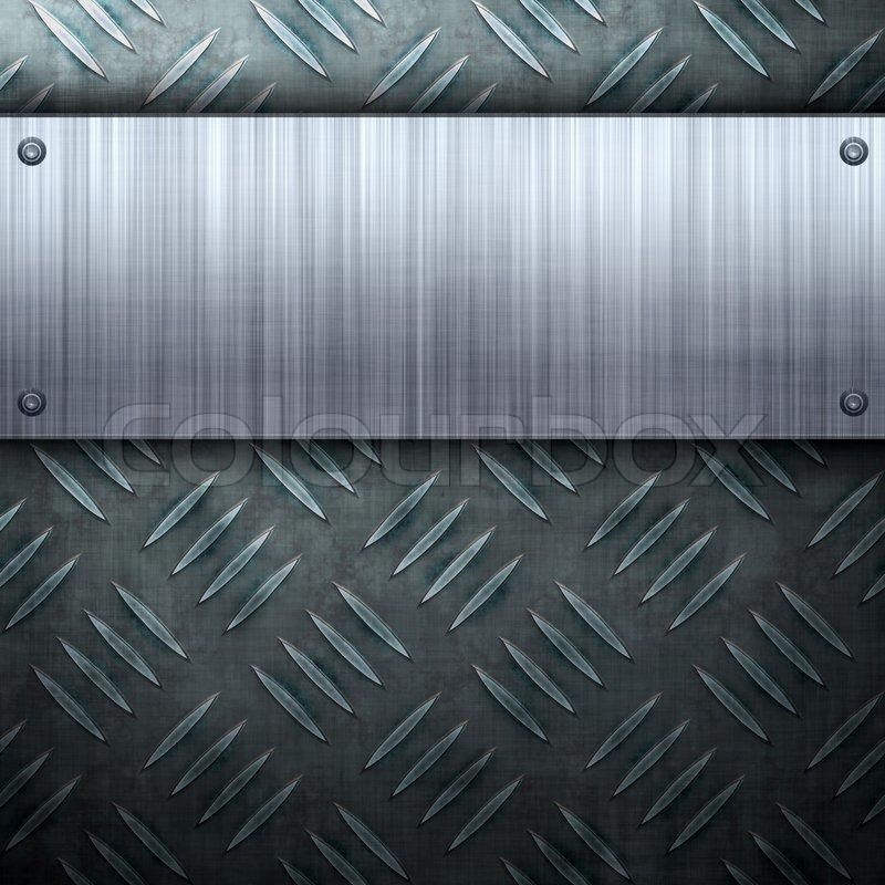 Worn diamond plate metal texture with a brushed aluminum plate worn diamond plate metal texture with a brushed aluminum plate riveted to it makes a great layout or business card template stock photo colourbox colourmoves