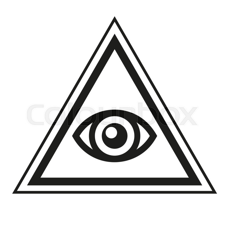 Masonic Symbol All Seeing Eye Inside Pyramid Triangle Icon Vector