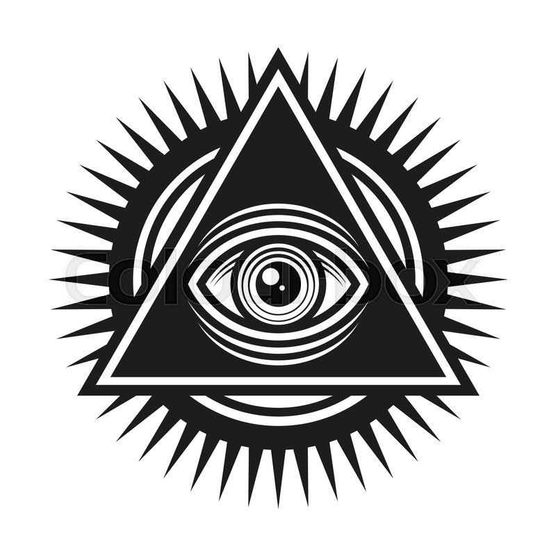 masonic symbol all seeing eye inside pyramid triangle icon vector