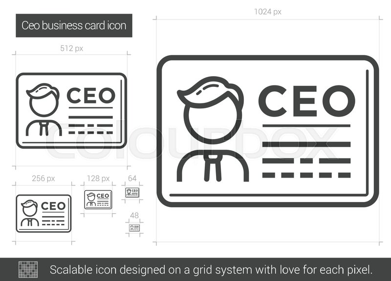 CEO Business Card Vector Line Icon Isolated On White Background For Infographic Website Or App Scalable Designed A