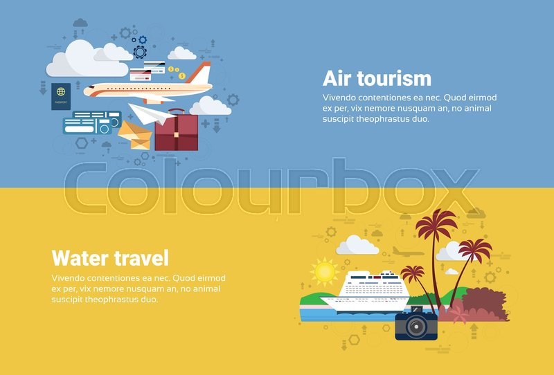 Airplane Transportation Air Tourism, Water Travel Cruise Tourism Web Banner Flat Vector Illustration, vector