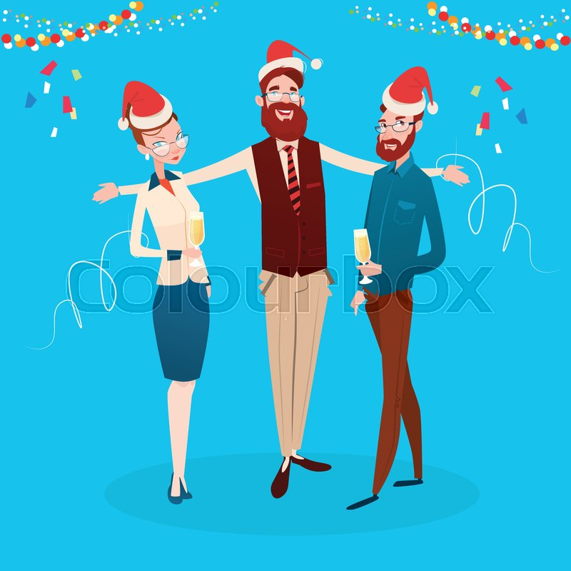 ceda89e06eccc Businesspeople Celebrate Merry Christmas And Happy New Year Office Business  People Team Santa Hat Flat Vector Illustration