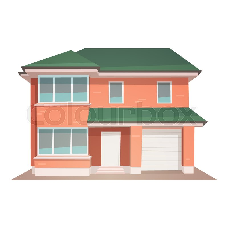 Front View Of Family House Cartoon Stock Vector Colourbox