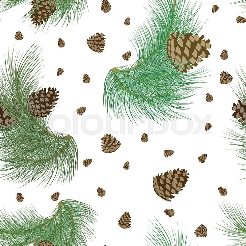 Seamless Pattern With Pinecones And Realistic Christmas Tree Green Branches Fir Spruce Design Or Background For Invitation Poster Greeting Cards
