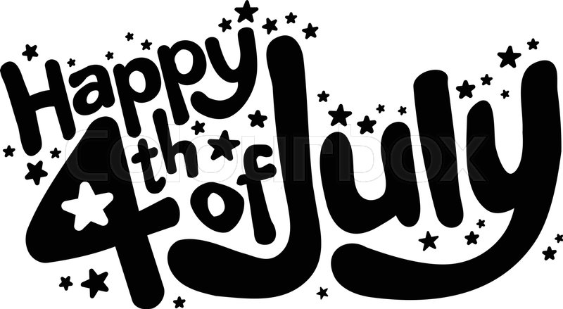 Happy 4th Of July In Fun Red And Blue Cartoon Bubble Letters With American  Flag And Stars Text Vector Graphic, Vector