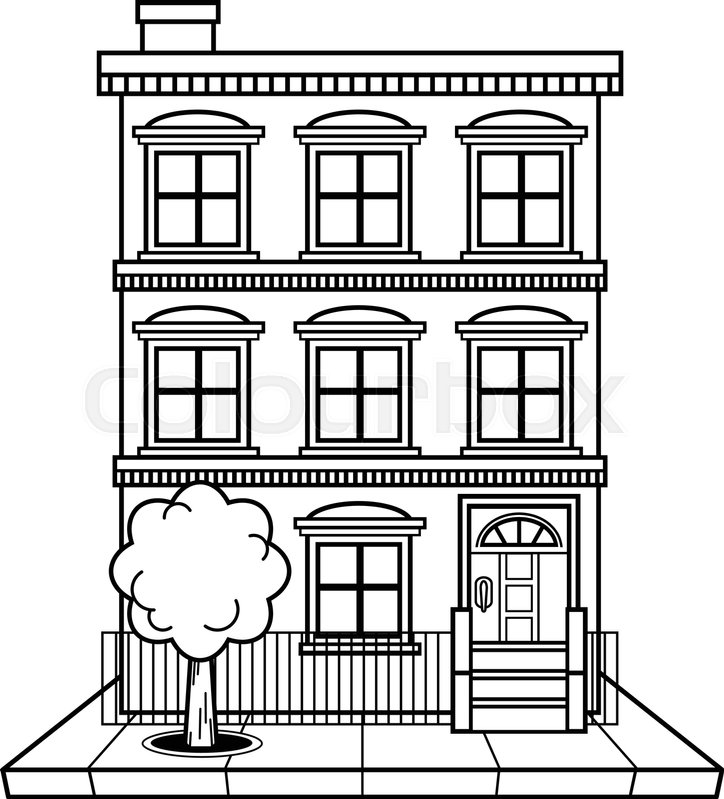 coloring pages apartment buildings | Apartment building vector | Stock Vector | Colourbox