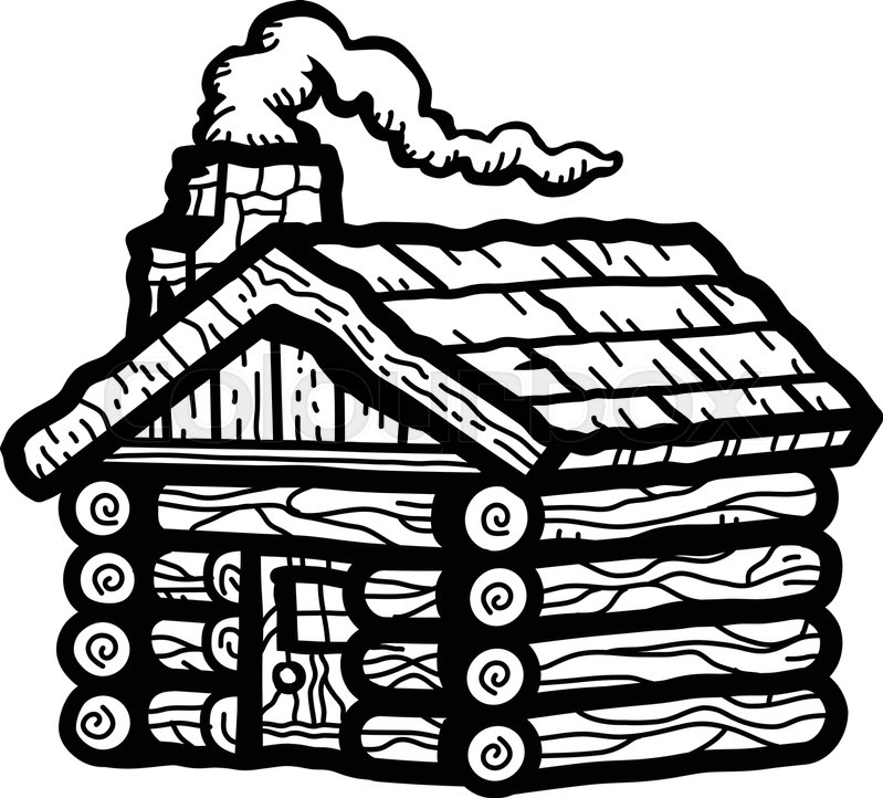 rustic wooden log cabin in cartoon style with smoking
