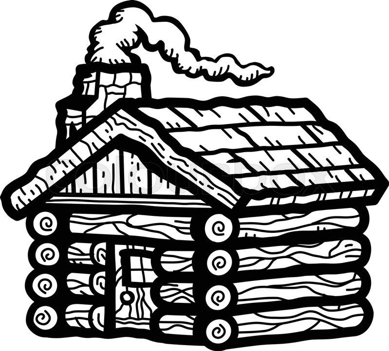 Rustic Wooden Log Cabin In Cartoon Stock Vector Colourbox