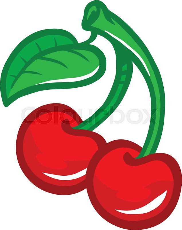 cartoon cherry fruit on green stem with leaf stock vector colourbox rh colourbox com cartoon cherries jubilee images cartoon cherry picker
