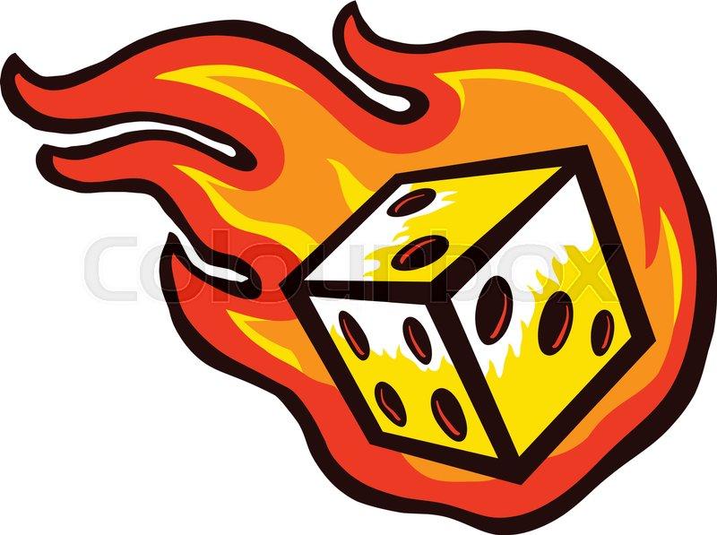 Flaming Dice   Stock vector   Colourbox