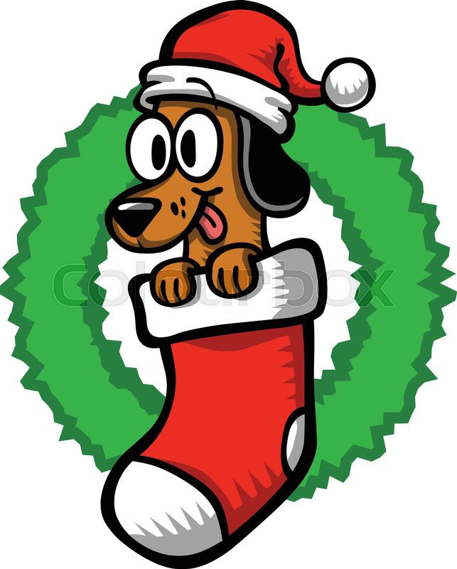 9959a2f5247ad Cartoon Dog Santa Hat Christmas ...
