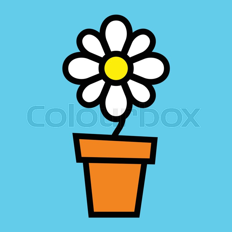 Cartoon Flowers In Vase Stock Vector Colourbox