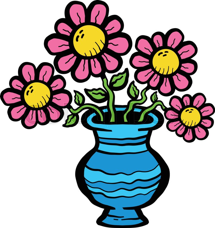 Cartoon Flowers In Vase Stock Vector Colourbox