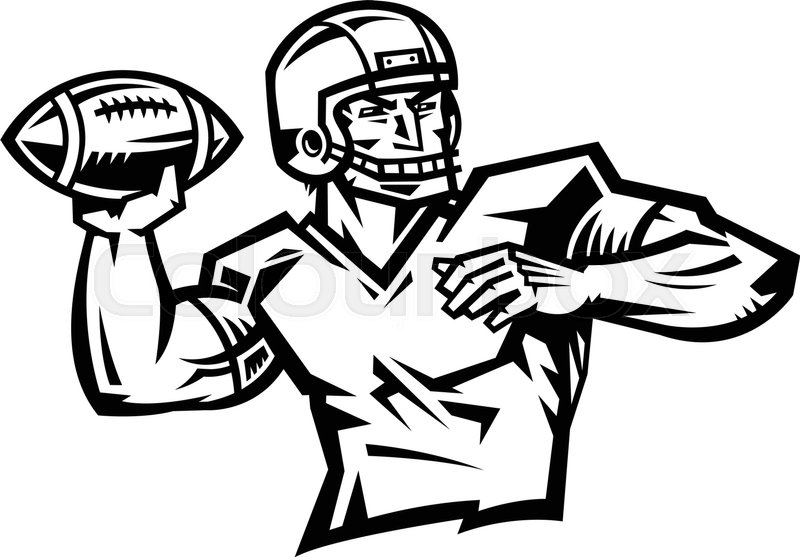 american football quarterback throwing football vector illustration