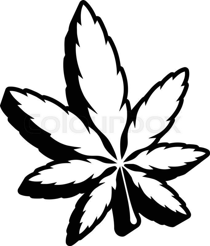 stylized green marijuana pot weed leaf vector logo stock