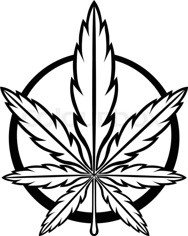 Stylized Green Marijuana Pot Weed Leaf Vector Logo Stock Vector