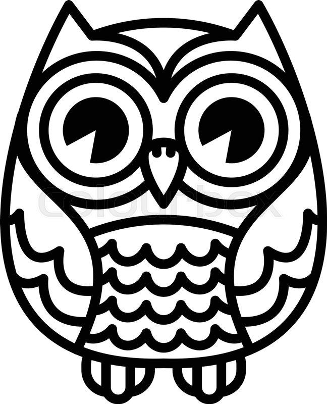 Cute Cartoon Owl Bird with Big Eyes in Sitting Position ...