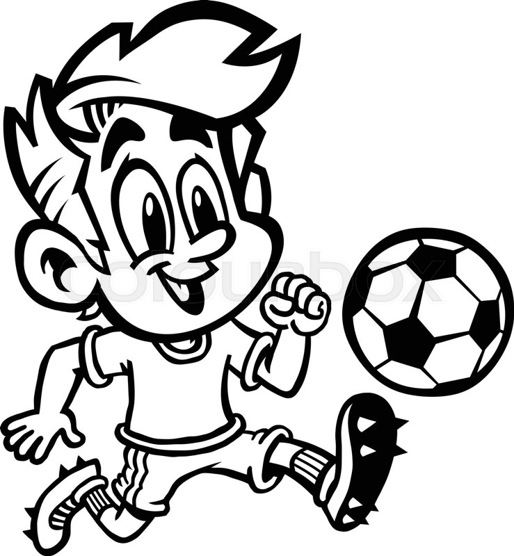 Cartoon Boy Kid Playing Football Or Soccer In A Green T Shirt And Cleat Shoes