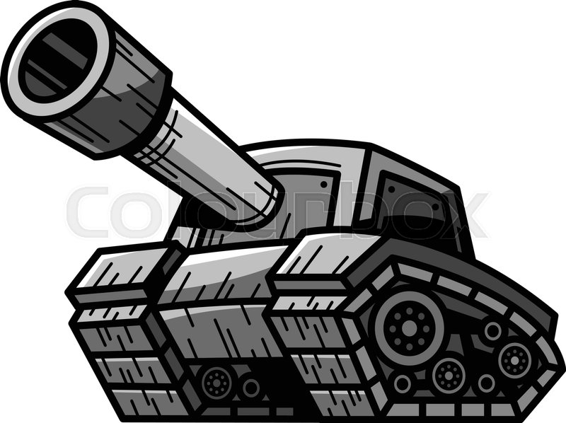 Cartoon Army Tank Machine with Big Cannon Ready to Fire ...