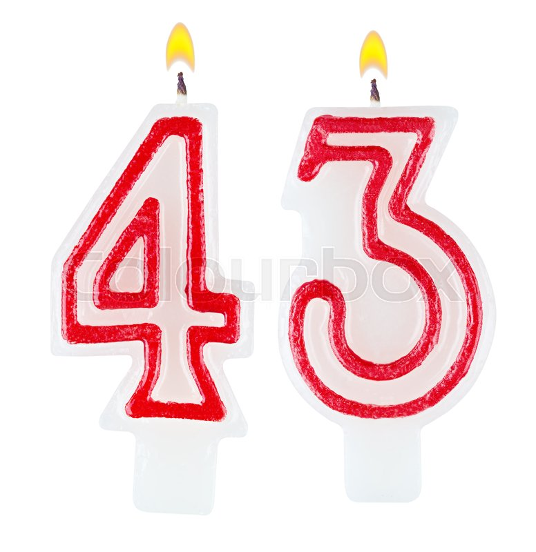 Birthday Candles Number Forty Three Isolated On White Background