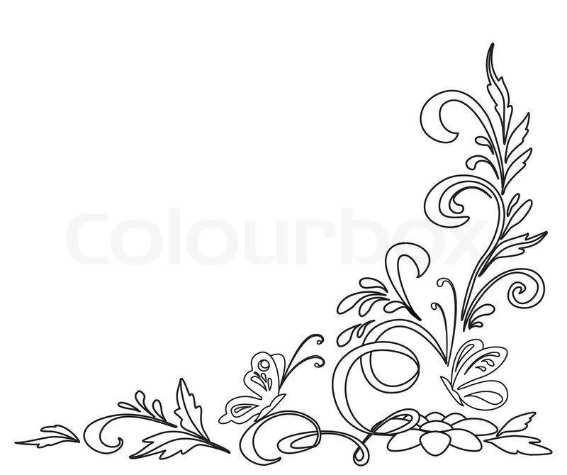 background abstract floral pattern isolated black and white contours stock photo