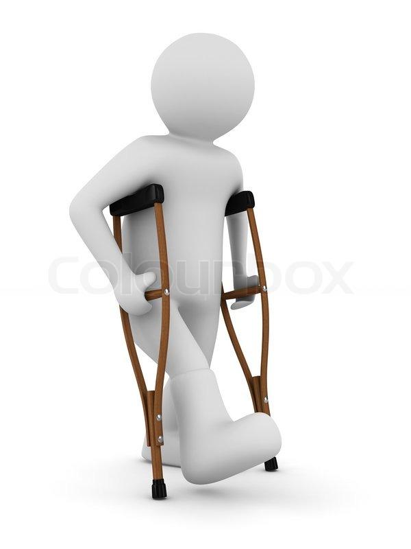 D Rose Injury Gif >> Mand på krykker på hvid baggrund. | stock foto | Colourbox