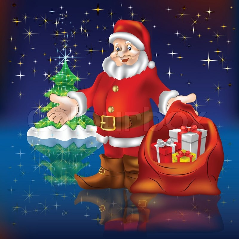 santa claus with gifts and christmas tree stock vector colourbox