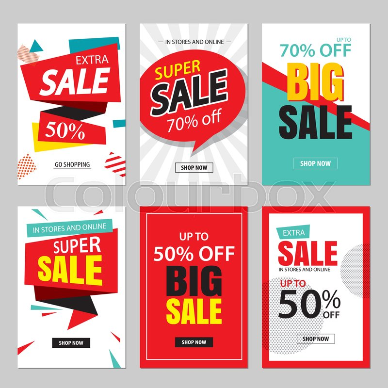 set of sale website banner templates social media banners for online shopping vector. Black Bedroom Furniture Sets. Home Design Ideas