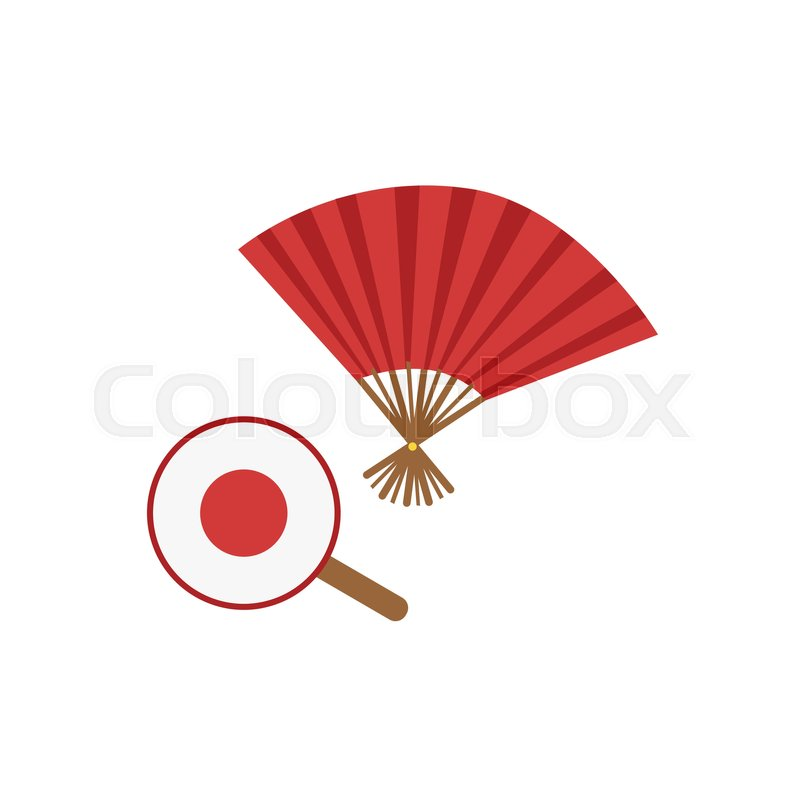 Paper Fans Japanese Culture Symbol Isolated Object Representing