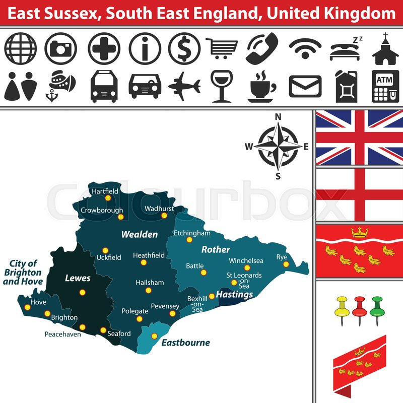 Vector Map Of East Sussex South East England United Kingdom With