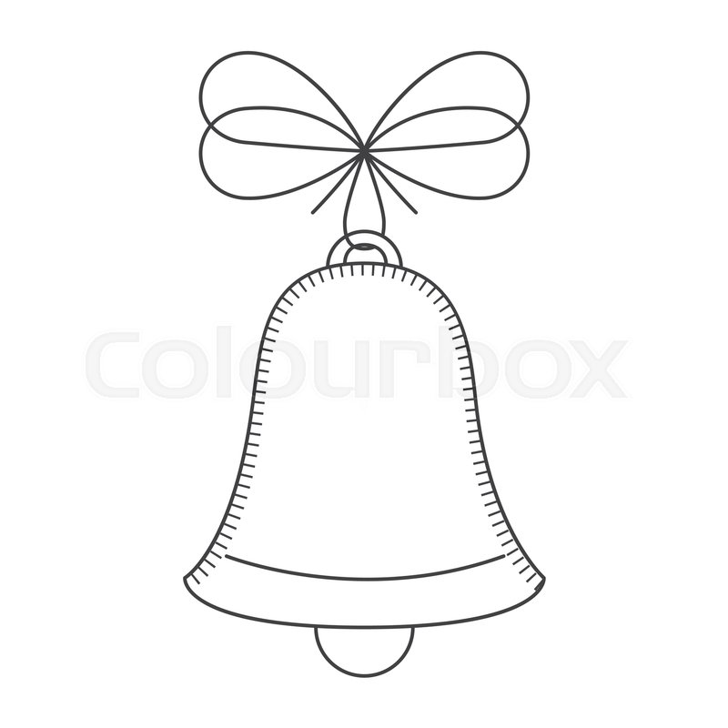 Christmas Bell Decoration With Ribbon Sketch And Draw Design Vector Illustration