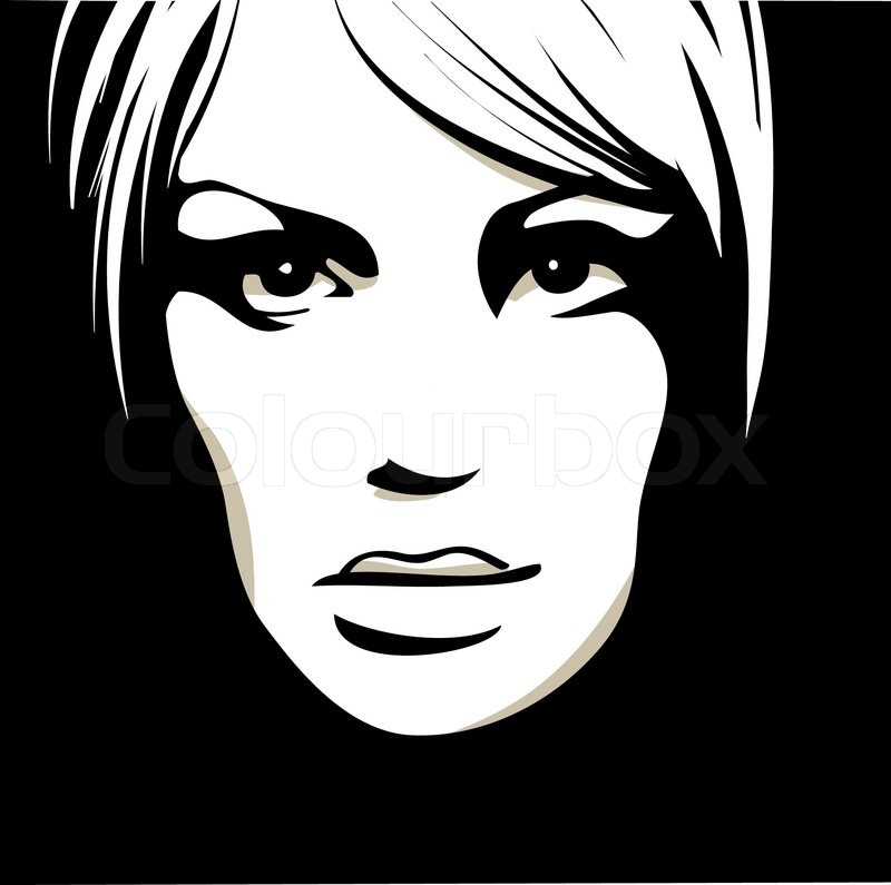 Woman Face With Beautiful Eyes Vector Illustration