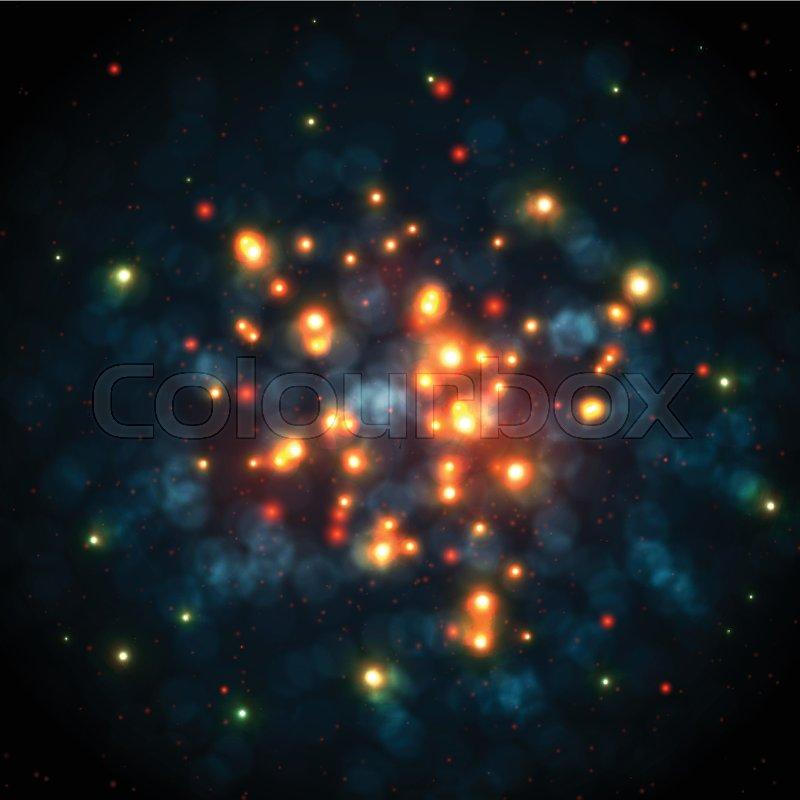 Orange Sparkles In Dark Blue Bokeh Background Vector