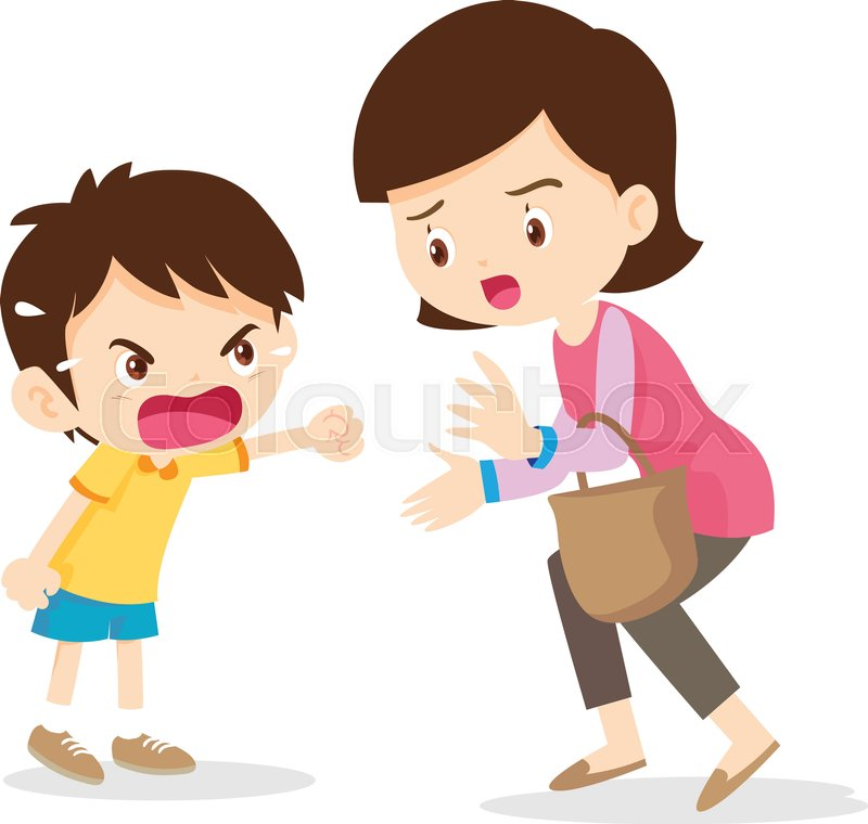 Boy Angry Shouting With Mother Boy Stock Vector Colourbox