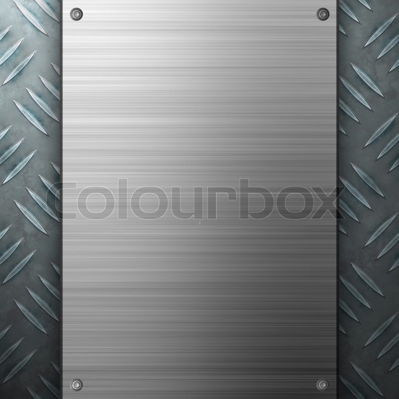 Worn diamond plate metal texture with a brushed aluminum plate ...