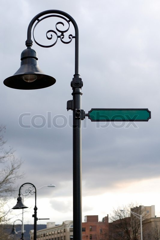 A Blank Street Sign And Lamp Post With Copyspace Ready For