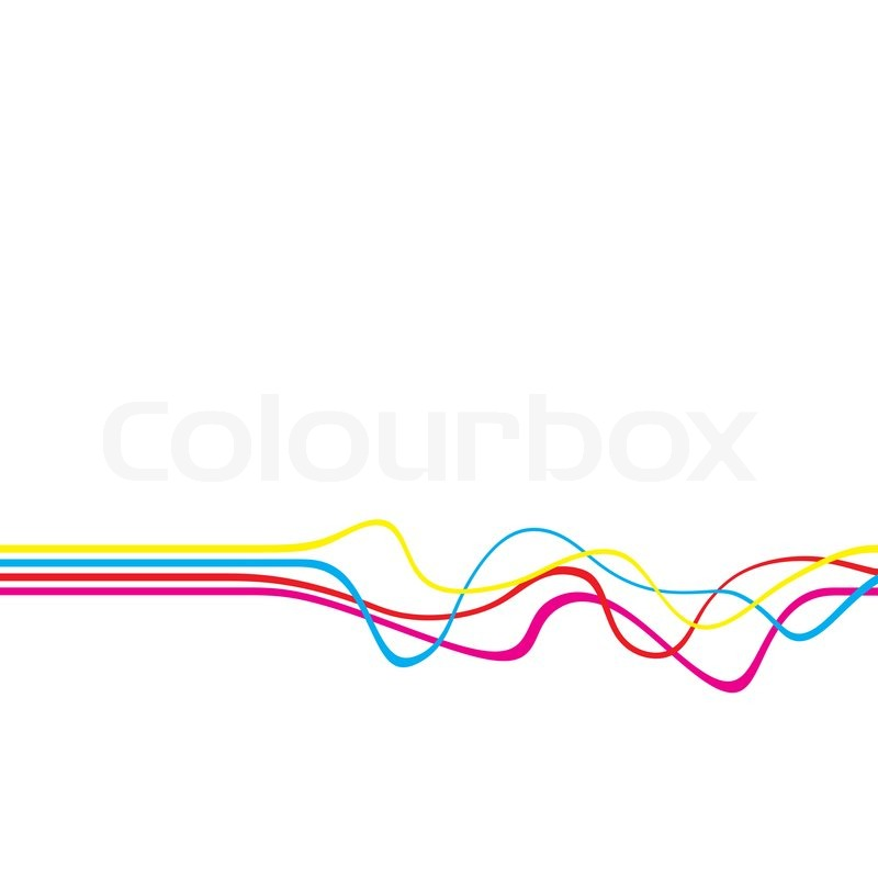 Abstract layout with wavy lines in a cmyk color scheme for Red line printing